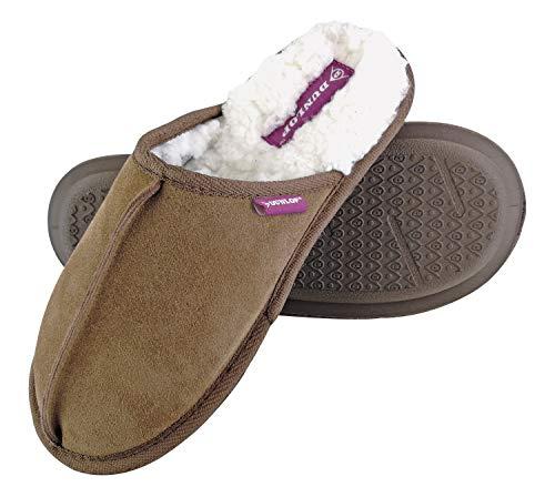 Dunlop - Damen Winter Warm Pantoffeln Hausschuhe mit Plüsch Innenfell Gefüttert (36 EU, 8034 Tan)
