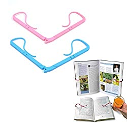 Adjustable page holder clip hugs the book from the back to keep it open