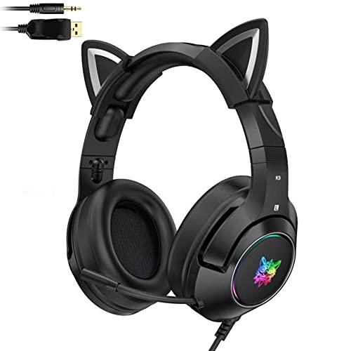 Gioco con filo nero / rosa Cuffie con orecchio di gatto con microfono, Cuffie con cavo con illuminazione a LED per orecchie di gatto, Cuffie con orecchie di gatto per ragazze dei ragazzi Cosplay