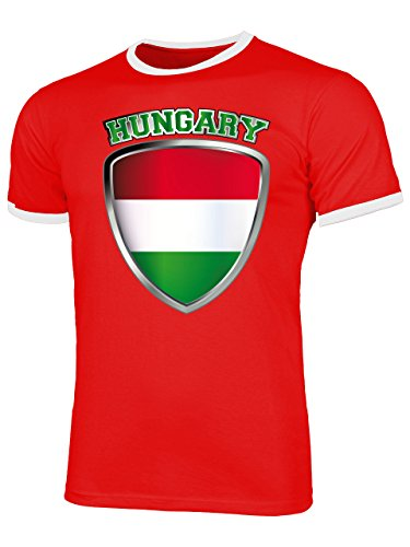 Ungarn Magyarország Hungary Fanshirt Fussball Fußball Trikot Look Jersey Herren Männer Ringer Tee t Shirt Tshirt t-Shirt Fan Fanartikel Outfit Bekleidung Oberteil Hemd Artikel