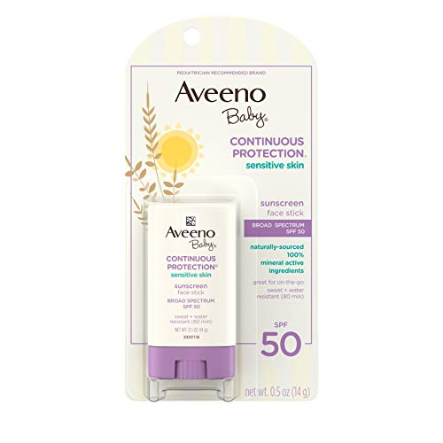 Aveeno Baby Continuous Protection Sensitive Skin Mineral Face Sunscreen Stick...