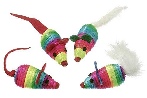 Karlie Nylon Rainbow Katzen-Spielmäuse mit Catnip, 4 Stück, 5 cm