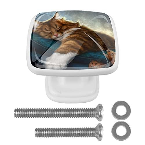 Perilla cuadrada para gabinete Gato de fantasía Perillas de cajón únicas hechas a mano para la decoración de la habitación de los niños en el hogar, paquete de 4 3x2.1x2 cm