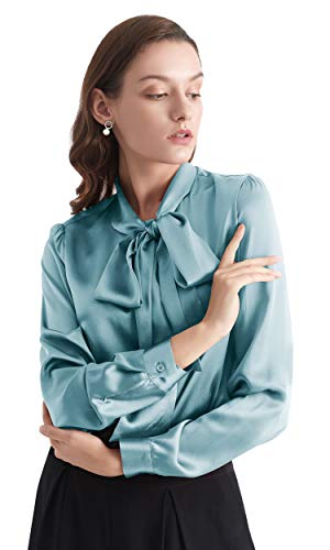 LilySilk Klassisch Seidenbluse Damenmode Seidenhemd Langarmbluse Damen Schluppenbluse Langarm aus 22 Momme Verpackung MEHRWEG (M, Neblig Blau)