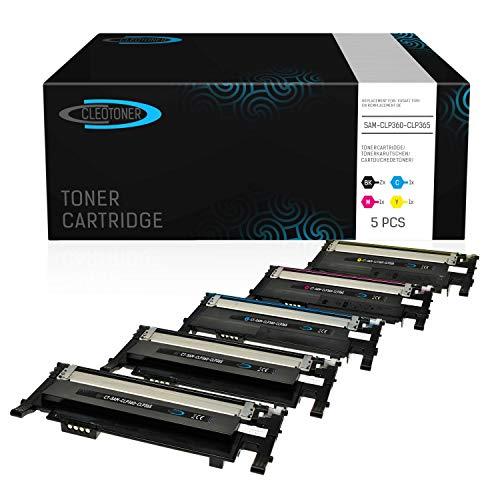 5 CLEOTONER Kompatibel für Samsung CLT-P406C Tonerkartusche Ersatz für Samsung Xpress C460W C460 C410W CLP-360 CLP-360ND CLP-365 CLP-365W CLX-3305 CLX-3300 Drucker, Schwarz Cyan Magenta Gelb