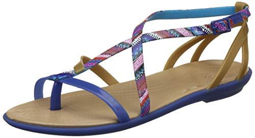 Crocs Women's Isabella Gladiator Flat Sandal, Blue Jean/Gold, 11 M US
