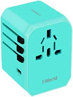 XIMINGJIA-O Power Plug Adapter - International Travel - 4 USB Ports in Over 150 Countries - 100-240 Volt Adapter - (1 Pack) Gold International Converter, (Color : Blue)
