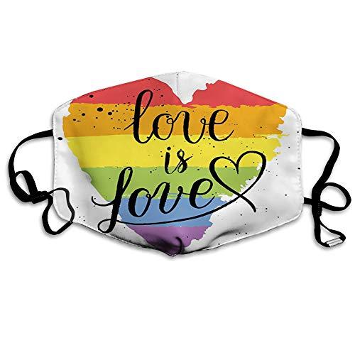 WYYCLD MundschutzMundAnti-Staub-Abdeckung,LGBT Gay Lesbian Parade Love Valentines Inspiring Hand Writing Paint Strokes,MouthCverWiederverwendbareFack-Abdeckung