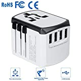 International Power Adapter - Yarrashop All in One Universal Power Adapter with 4 USB Charging Ports Wall Charger for 150+ Countries Travel Plug Adapter for USA EU UK AUS (White)