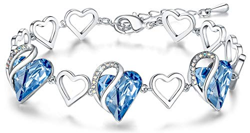 """Leafael Infinity Love Heart Link Bracelet with Light Sapphire Blue Birthstone Crystal for March and December, Women's Gifts, Silver-tone, 7"""" with 2"""" Extender"""