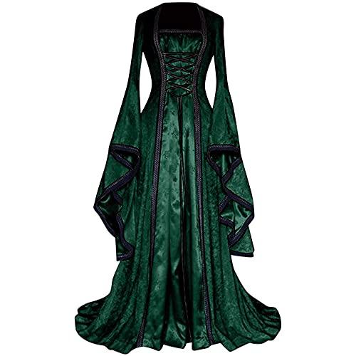 Cicilian Damen Trompetenärmel Prinzessin Kleid Schnür Korsett Bodenlangen Viktorianischen Kleider Vintage Kostüm Mittelalter Renaissance Maxikleid Halloween Cosplay Outfit