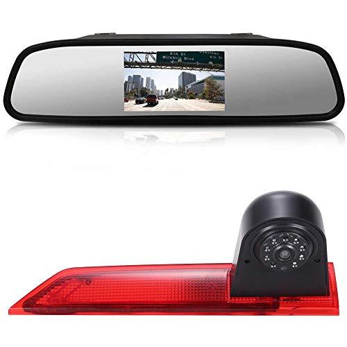 Dynavsal 【4.3\'\' Rückspiegel Monitor + Rückfahrkamera Transporter】im 3. Bremsleuchte HD Rückfahrkamera für Ford Transit Custom 2012-2016 Van