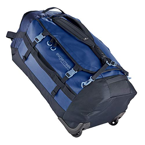 Eagle Creek Cargo Hauler Wheeled Duffel, foldable travel bag with wheels, large duffle bag, abrasion & water resistant TPU fabric, backpack straps, blue (Arctic Blue), 110 L.