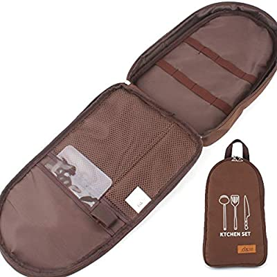NatSumeBasics Camping Travel Cooking Utensils Organizer Travel Bag Portable Pouch for BBQ Camp Cookware Kitchen Kit (Only 1pc Brown Bag)