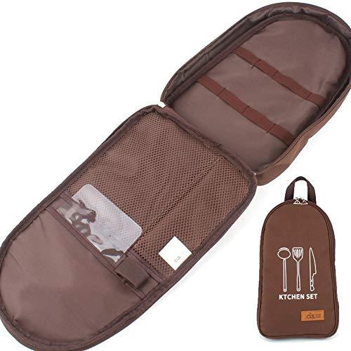 NatSumeBasics Camping Reise Kochutensilien Organizer Reisetasche Tragbare Tasche für BBQ Camp Kochgeschirr Küche Kit Aufbewahrung, braun, 360mm x 200mm x 60mm