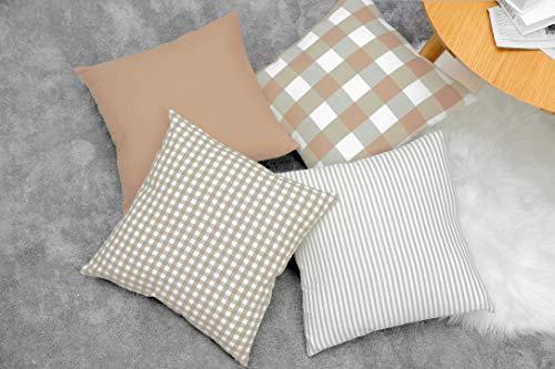 MONTANCHEZZ Pack de 4 Fundas de Cojín 45 x 45cm de Cuadros, Rayas, Estilo Moderno, Textura Suave. Throw Pillow Case Funda de Almohada (Marrón)