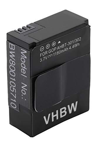 vhbw Batteria 1180mAh (3.7V) per GoPro Hero 3 III, CHDHX-301, 3+ III Plus Black White Silver Edition come AHDBT-201 AHDBT-301 AHDBT-302 1ICP7/26/33-2.