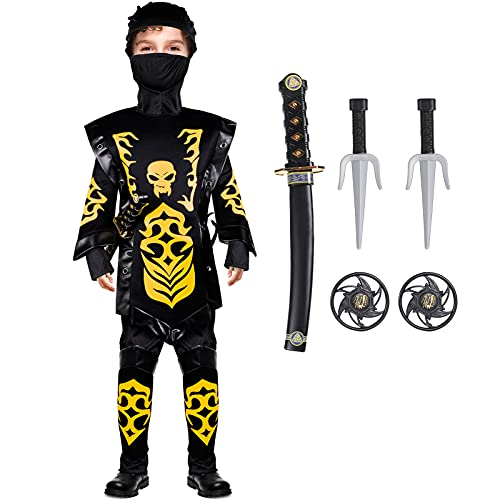 Tacobear Disfraz de Ninja para Niño Disfraz de Calavera Ninja Disfraz de Cosplay Disfraz Infantil de Halloween Negro y Rojo 4-12 años (L (10-12 años), amarillo)
