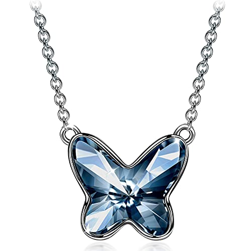 Sellot Collar Regalos para Mujer, Serie Sueño de Mariposa, Regalos Originales para Mujer, Cristales de Austria Collar de Plata de Ley 925 para Mujer, Bonito Joyero