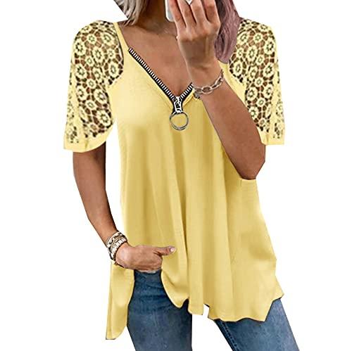 Encaje Patchwork Camisa De Manga Corta Mujer Verano Sexy Cremallera Cuello En V Casual Elegante Camiseta Moda SóLido Camisetas Superiores Sueltas