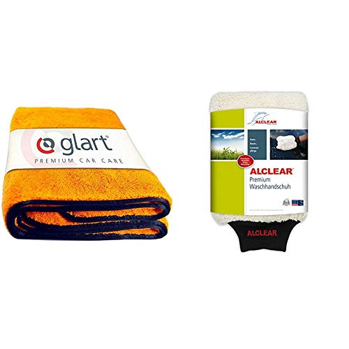 Glart 44WG Watergate super saugfähiges Mikrofaser-Trockentuch, orange, 1 Stück & ALCLEAR Mikrofaser Handschuh zum Auto waschen mit Shampoo: Besser als EIN Auto Wasch Schwamm