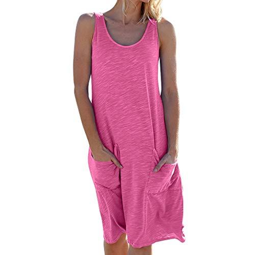AMUSTER Damen Sommerkleid Casual Ärmellos Rundhals mit Taschen Basic Longshirt Kurz Minikleid T-Shirtkleid Casual Tops