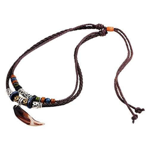 ACAMPTAR Collar Tribal de Cuero para Mujeres y Hombres Vintage Estilo Bohemio Cuentas éTnicas Gargantilla Trenzada Ajustable Doble Capa