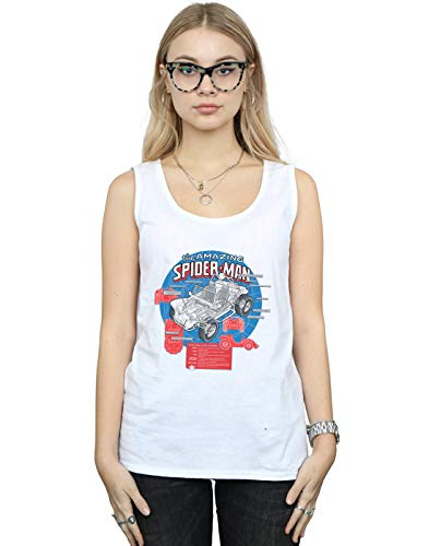 Marvel Mujer Spider-Man Spider-Buggy Breakdown Camiseta Sin Mangas Blanco Small