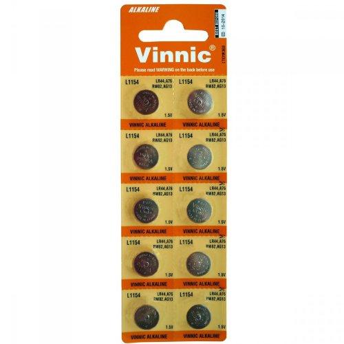 Knopfzelle 10Stk. L1154 AG13 G13 LR44 1,5V Vinnic Batterie Alkaline Knopfzellen