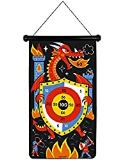 Magnetyczna gra do darta na temat smoków i rycerzy – strona przednia/tylna gra zręcznościowa wspomaga zwrotność i koncentrację, 6 lotek – od 4 lat