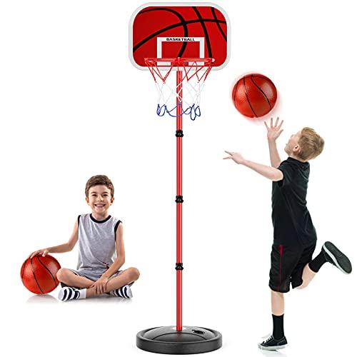 URBZUE Canasta Baloncesto Infantil, Altura Ajustable 63CM-150CM, para niños 3+, con Redes para Aros de Baloncesto, Regalo de Juguetes de Baloncesto en Exterior y Interior