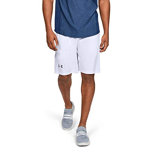 Under Armour Men's Raid 10-inch Workout Gym Shorts, White (100)/Graphite, XX-Large