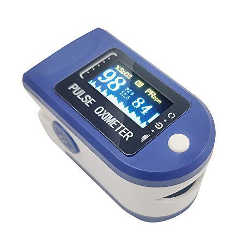 Pulsiossimetro da Dito, Pulsiossimetro da Dito Professionale, Sensore Digitale di Ossigeno Nel Sangue e Pulsazioni, con Allarme SPO2, per Uso Domestico, Fitness e Sport Estrem (blu)