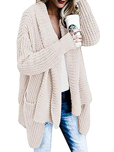 Glaiidy Cárdigan Señoras De Punto Grueso Abrigo De Punto Cárdigan De Ropa de Fiesta Punto Cárdigan De Gran Tamaño Abrigo De Punto Suéter Casual Outwear (Color : Beige, Size : De 46)