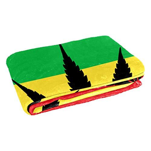 CHINFY - Coperta da viaggio extra morbida con foglie di cannabis, coperta da viaggio in poliestere, grande coperta per letto, divano o poltrona, dormitorio
