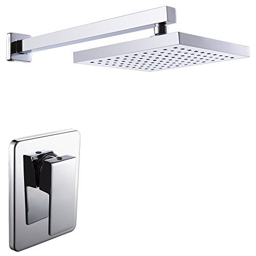 KES Shower Trim and Rain Shower Head Combo (Brass Body Single Handle) with Faceplate and Supply Arm...