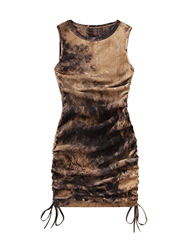 SheIn Women's Ruched Sleeveless Mini Bodycon Dress Drawstring Tie Side Round Neck Short Dresses Khaki Tie Dye Small