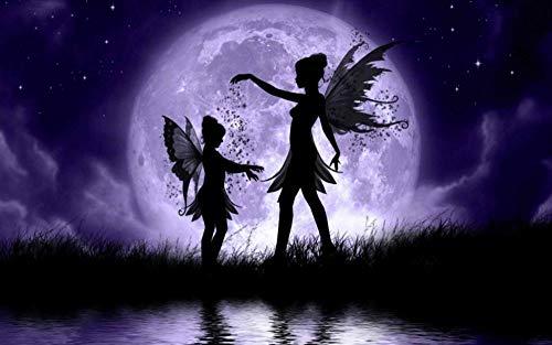 Lcyab Rompecabezas 1000 piezas Elfo de la noche de estilo gótico oscuro Luna adultos calmante para el estrés para niños Juego temático familiar educativo Juguetes Desafío súper difícil Regalos