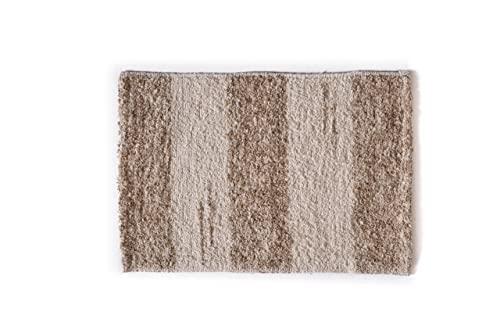 Alfombra baño para ducha y exterior, de algodón suave muy absorbente, fabricada a mano en España, artesanal, lavable en lavadora y secado rápido (Marrón Tierra Andina)
