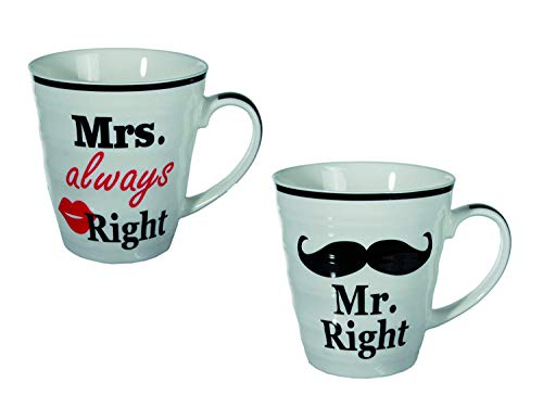 Out of the blue Tazza in Porcellana, Mr Right & Mrs Always Right, 10 x 9 cm