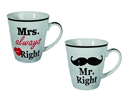Out of the blue Set de Tazas de Ceramica, Mr Right & Mrs Always Right, Blanco con diseño, Aprox. de 10 x 9 cm