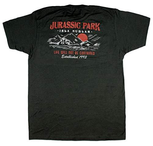 Jurassic Park Uomini Isle Nubar Vita Non sarà contenuta EST 1993 T-Shirt (X-Small, Nero)