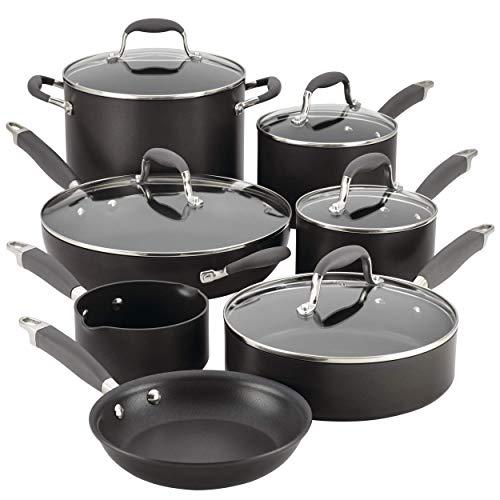 Anolon Advanced 12-pc. Hard-Anodized Nonstick Cookware Set Grey, 2.3, black