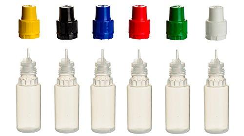 6PZ 10ML bottiglie di PP con tappi colorati, + di riempimento Imbuto in bottiglia di plastica per salse–Cerniera Spritz bottiglia di plastica quetschbar da riempire e mescolare anche liquide