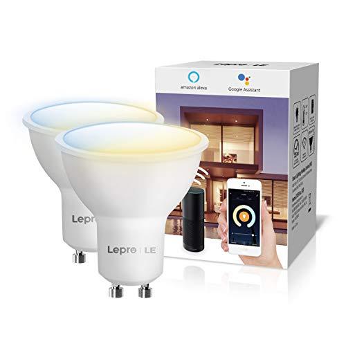 LE Bombillas Inteligentes GU10, Bombilla WiFi Funciona con Alexa y Google Home, Blanco Cálido a Frío, Regulable, No Requiere Hub,Paquete de 2(410lm, 4.5W=50W, 2700K-6500K, 2.4GHz WiFi)