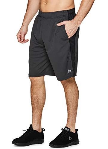 RBX Active Herren-Basketball-Shorts mit Taschen, 22,9 cm Schrittlänge - Grau - Klein
