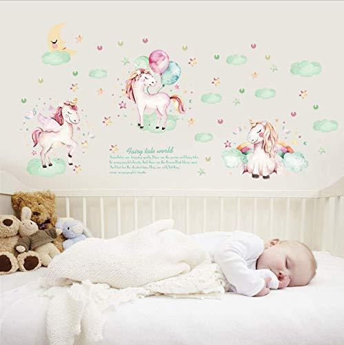 Wandaufkleber Cartoon Nette Einhorn Wolke Aufkleber Poster Tiere Vinyl Wandtattoos Für Kinder Schlafzimmer Wasserdichte Wandbild Diy Wohnkultur