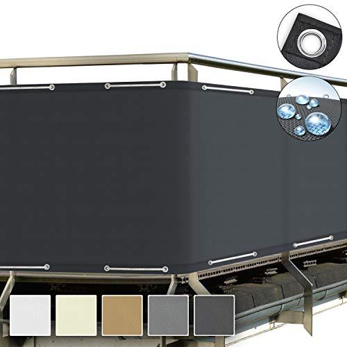 Sol Royal SolVision Protección Visual PB2 PES Pantalla Opaca 500x90 cm Antracita balcón privacidad con Ojales Cuerdas