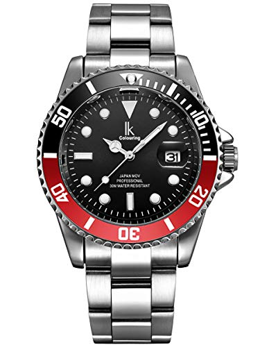Alienwork Herren Damen Armbanduhr Quarz Silber mit Edelstahl Metallarmband Kalender Datum schwarz elegant
