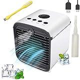 Nifogo Mini Aire Acondicionado, 3 en 1 Ventilador Purificador, Humidificador, con Oficina Ventilador de Escritorio Mini Ventilador, 7 Colores, 3 Velocidades